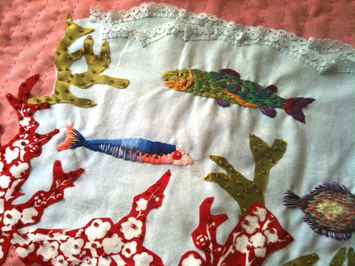 couture, broderie, poisson, fil